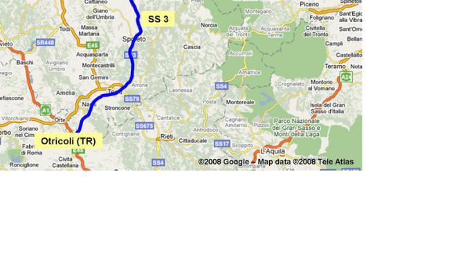 Umbria, senso alternato su Statale 3 Flaminia