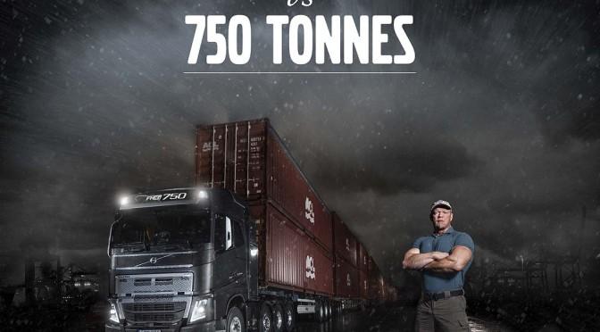 Un Volvo FH16 traina 750 tonnellate da fermo