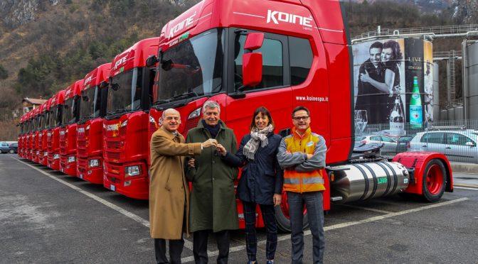 Tutto il navettaggio dell'acqua minerale San Pellegrino viaggia su Scania LNG